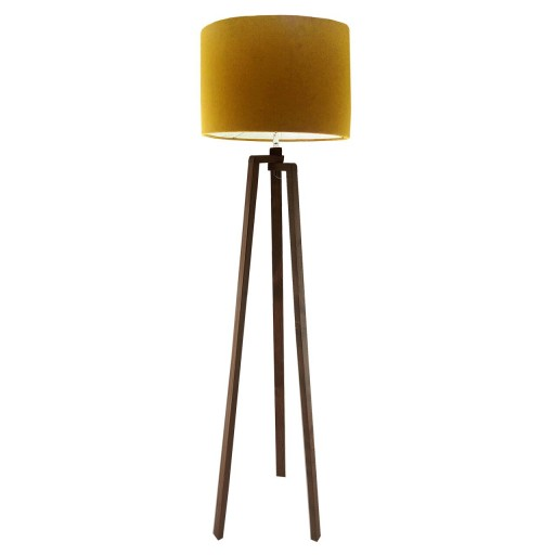 آباژور کنار سالنی زرد خردلی | آباژور چوبی کنار سالنی به ارتفاع حدود 150 سانتیمتر تولید شده از چوب طبیعی روسی و رنگ پایه قهوه ای روشن مات و کلاهک رنگی مخمل