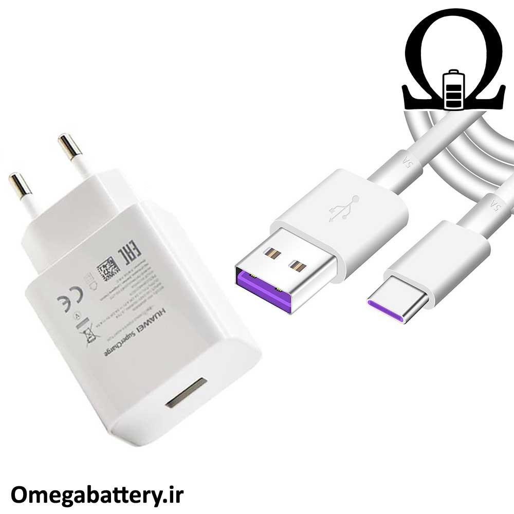 تصویر شارژر ديوارى فست شارژ و سريع اصلى همراه كابل هواوى گوشى Huawei mate 10 Huawei mate 10 Quick charge adapter with cable