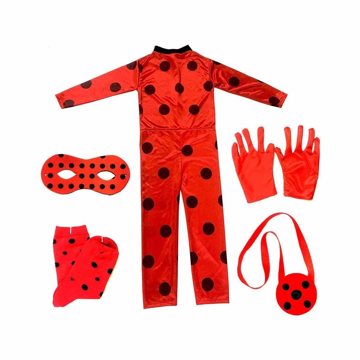 تصویر لباس ست ایفای نقش طرح دختر کفشدوزکی مجموعه پنج عددی کد 101