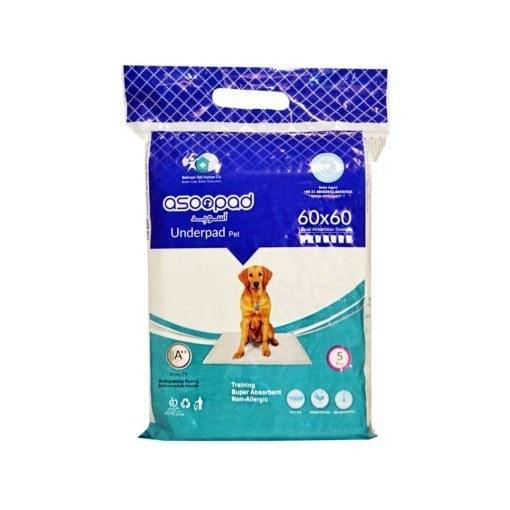تصویر پد بهداشتی، مخصوص حیوانات، ۵ عددی، ۶۰*۶۰ سانتیمتر، برند آسوپد