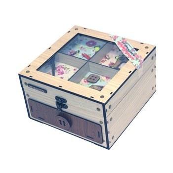 جعبه نخ و سوزن چوبی فامسین مدل کشودار  بزرگ | Famesin Equipped Large Wooden With Drawer Sewing Box