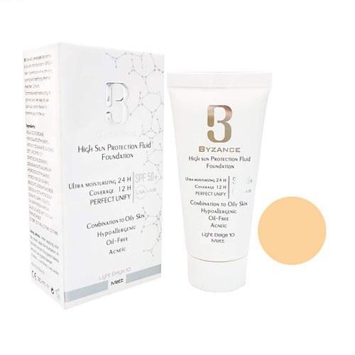 تصویر  فلوئید ضد آفتاب کرم پودری +SPF50 پوست های چرب بیزانس بژ روشن شماره 10 High Sun Protection Fluid Foundation SPF50+