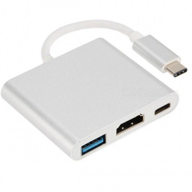 تصویر تبدیل Type-C به HDMI و USB3.0 و Type-C