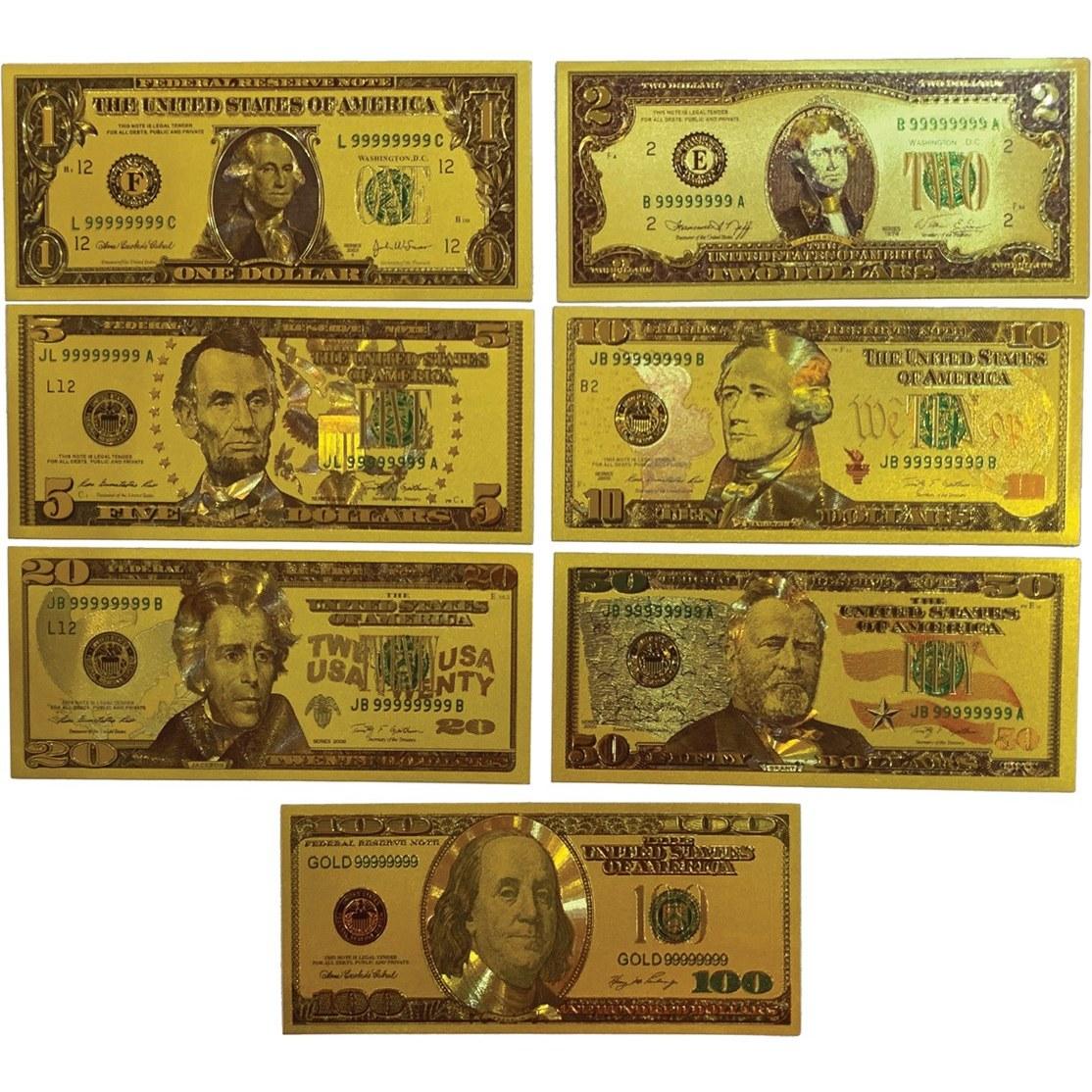 تصویر مجموعه 7 عددی اسکناس دلار آمریکا روکش آب طلا