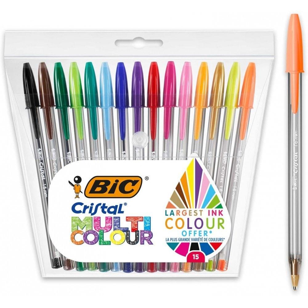 خودکار بیک ۱.۶ میلی متر کریستال ست ۱۵ رنگ مخصوص خوشنویسی