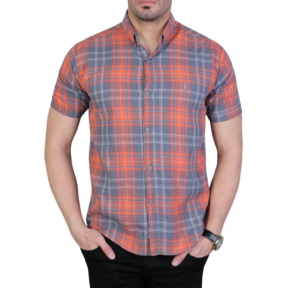 تصویر پیراهن مردانه آستین کوتاه چهارخانه پولو طوسی نارنجی