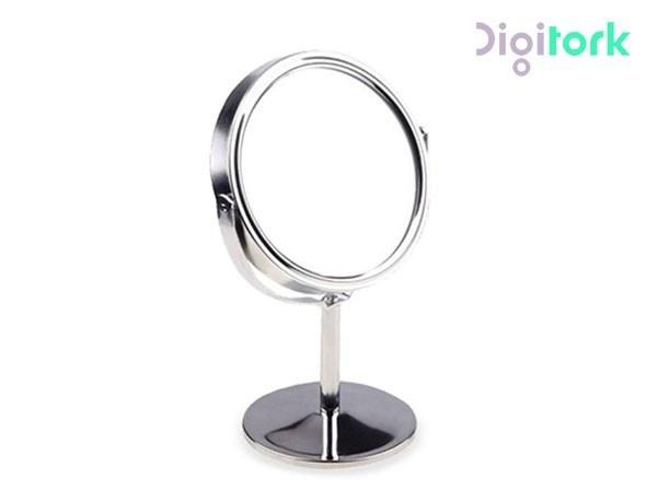 تصویر آینه آرایشی استیل گرد دو طرفه