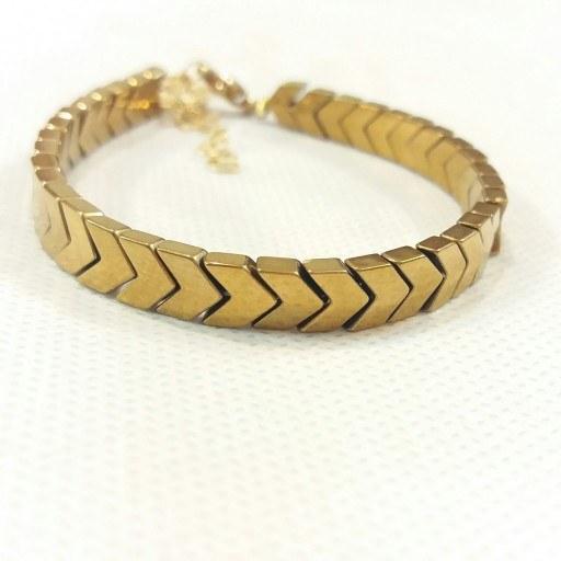 دستبند سنگ حدید فلش طلایی  
