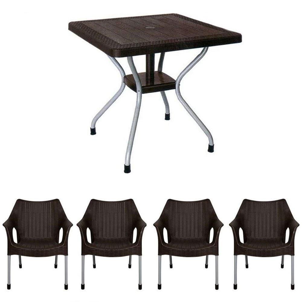 تصویر ست میز و صندلی 4 نفره حصیر بافت ناصر پلاستیک کد 623 991