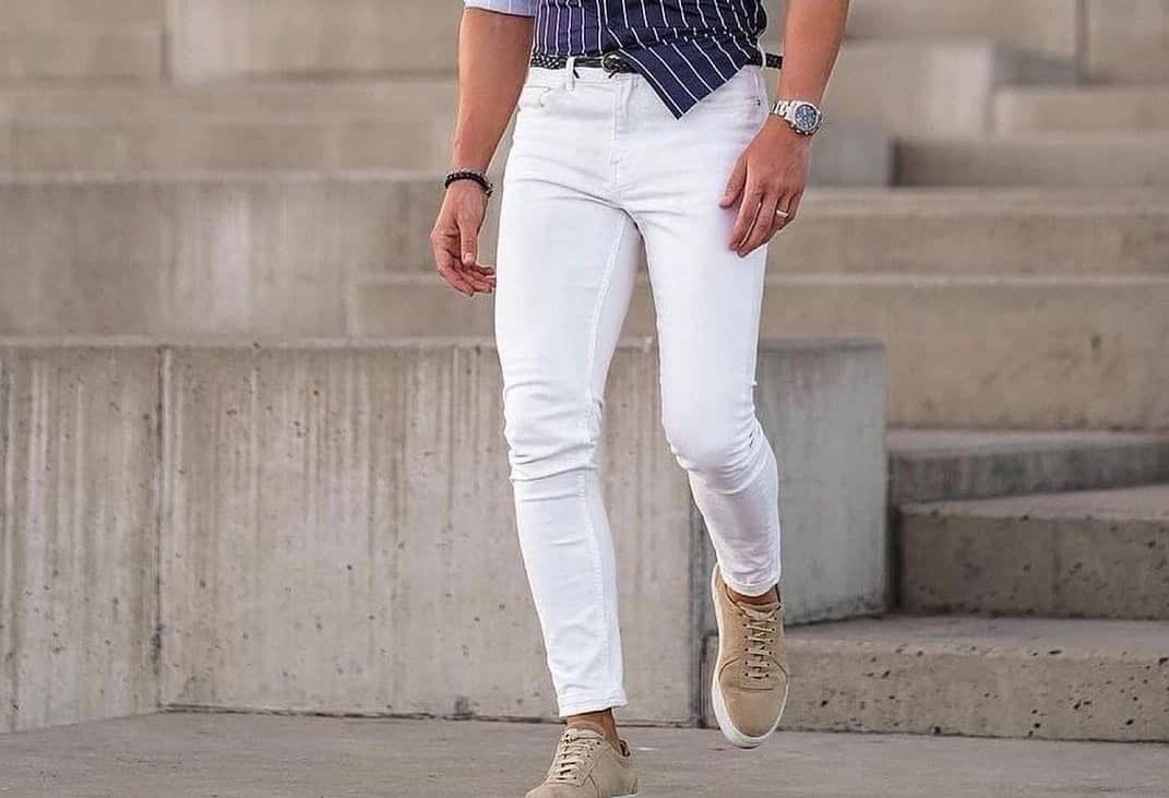 تصویر شلوار جین سفید مردانه - 30