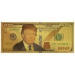 اسکناس 100 دلار آمریکا طرح دونالد ترامپ روکش آب طلا