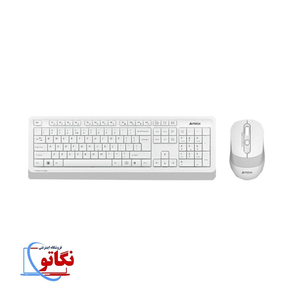 تصویر کیبورد و ماوس سفید بی سیم A4TECH FG1010 A4TECH Keyboard+Mouse Wireless FG1010 White