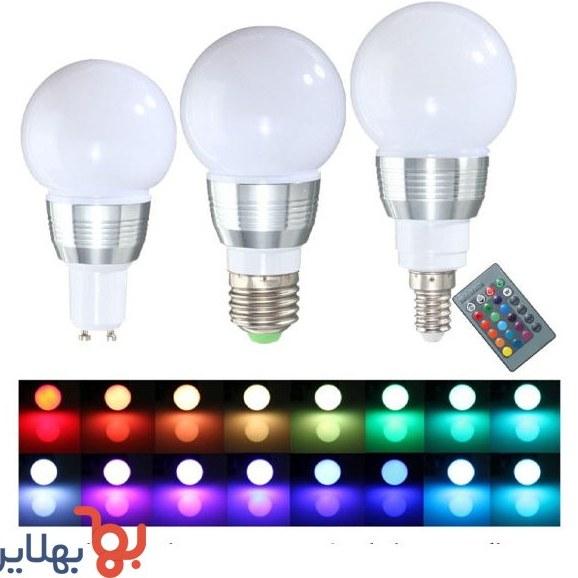تصویر لامپ ال ای دی با قابلیت انتخاب رنگ بوسیله ریموت
