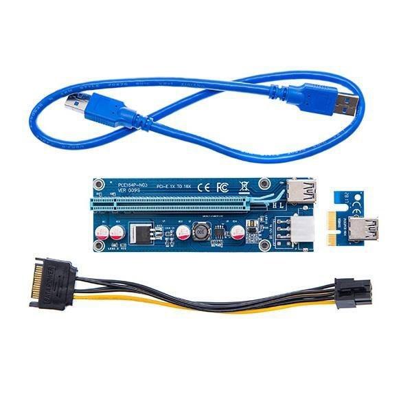 تصویر Riser Card USB 3.0 Adapter Extender PCIE 1x to 16x Ver009S رایزر کارت گرافیک PCIE x1 به x16 با رابط کابل USB3.0