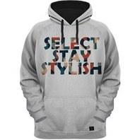تصویر هودی مردانه 27 طرح SELECT STAY STYLISH کد AL179 رنگ طوسی کلاه مشکی