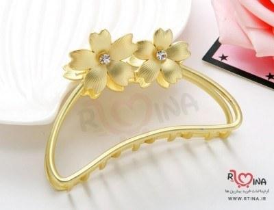 تصویر کلیپس سر فلزی مینیمال مدل دو گل