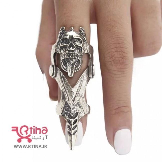 تصویر انگشتر فلزی پسرانه/ دخترانه/ زنانه بلند مدل اسکلتی
