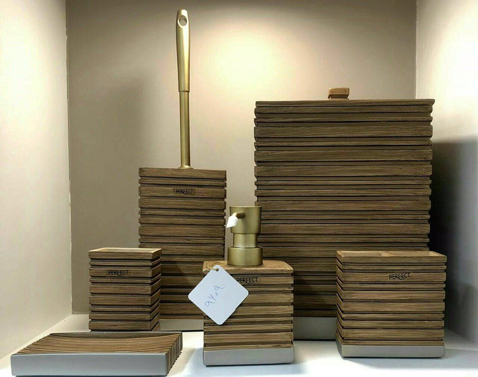 ست 6 پارچه سرویس بهداشتی رزین مدل چوب  