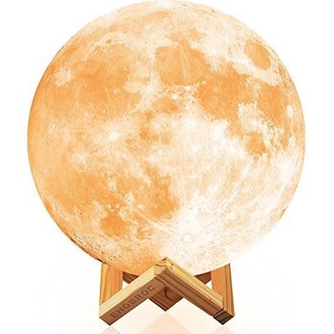 نور ماه، Ehobroc 7.1 اینچ درخشان Moon Globe نور، لامپ 3D ماه درخشان ماه با پایه، Luna Loon ماه با 2 رنگ (گرم و سفید و زرد)، نور شب ماه برای دکور خانه، اتاق خواب، کودکان هدایا