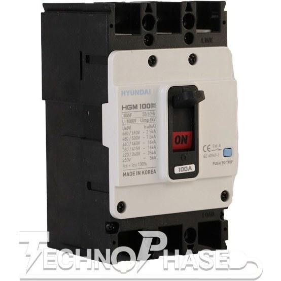 تصویر کلید اتوماتیک کمپکت 63 آمپر غیر قابل تنظیم حرارتي هيوندای مدل HGM