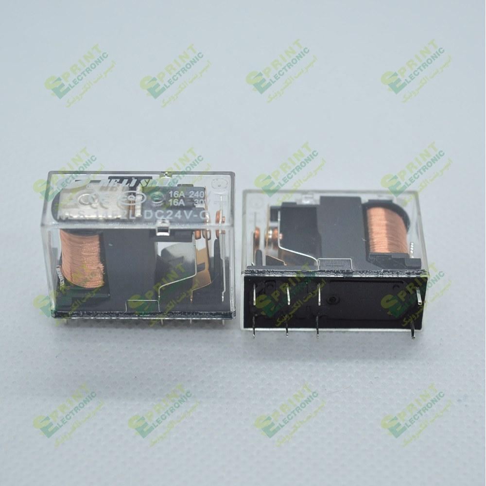 تصویر رله 24 ولت شیشه ای 8 پایه 16 آمپر HLS-14F2L-24VDC