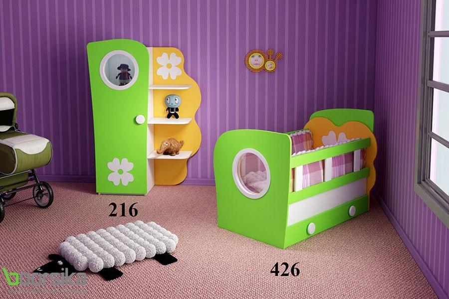 سرویس خواب تک نفره نوزاد گلبرگ تراشه Tarasheh 426 Baby Bed
