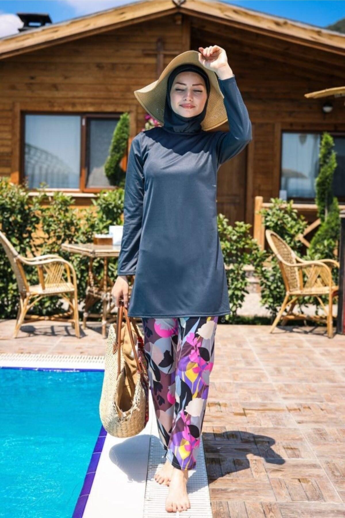 مایو اسلامی پوشیده زنانه دودی برند Marina کد 1600560898