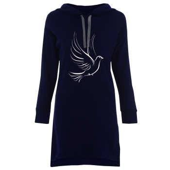 هودی زنانه طرح کبوتر کد B87 رنگ سرمه ای |