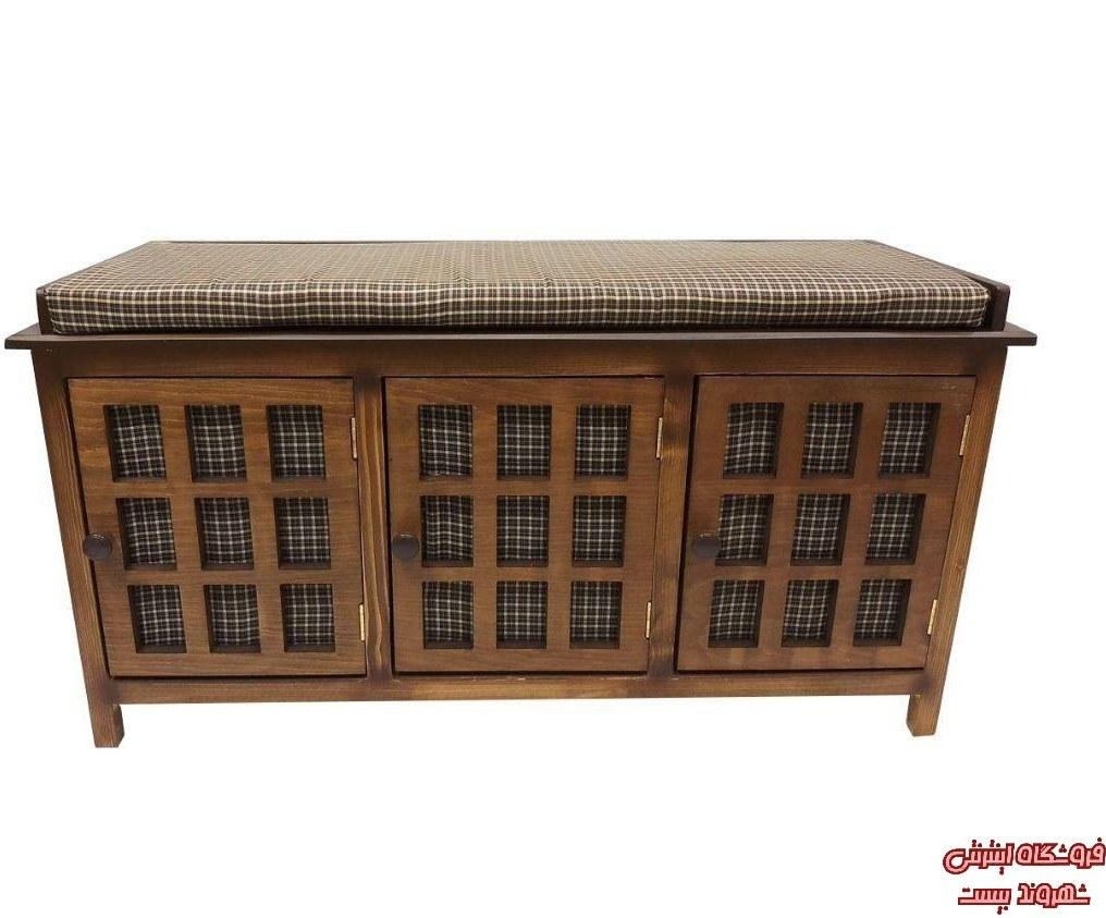 تصویر جا کفشی چوبی نشیمن دار سه درب قهوه ای کدکالا 3839