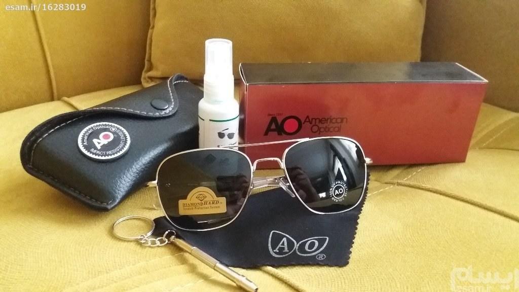 عینک خلبانی AO (تحت لیسانس امریکا) نایابترین رنگ | بهترین کیفیت وقیمت موجود در بازار (شیشه سنگی  با حک AO USA ) انحصاری فرم استیل