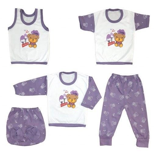 ست لباس نوزاد | ست 5 تکه لباس نوزادی سایز صفر رنگ بنفش کد SD222-V