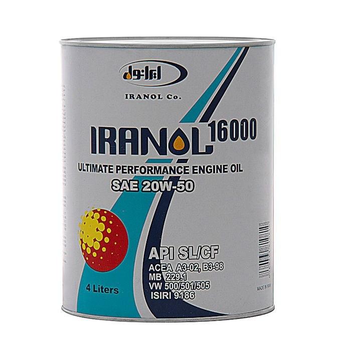 روغن موتور خودرو ایرانول مدل 16000 ظرفیت 4 لیتر