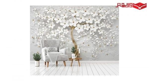 تصویر پوستر دیواری درخت طلایی و گل های سفید
