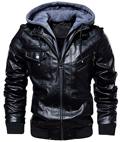 chouyatou Men's Vintage Removable Hooded Slim Motorcycle Faux Leather Bomber Jacket