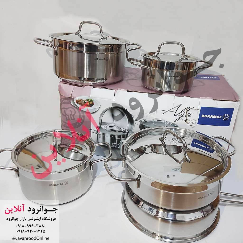 تصویر سرویس قابلمه استیل 9 پارچه کرکماز Korkmaz Alfa A1660 Korkmaz Alfa A1660 Cookware Set