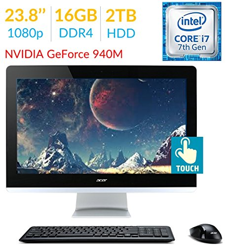 """کامپیوتر همه کاره """"23.8 ایسر مدل Acer Aspire / پردازنده Intel Core i7-7700T / رم 16GB DDR4/ هارد 2TB HDD / کارت گرافیک NVIDIA GeForce 940M"""
