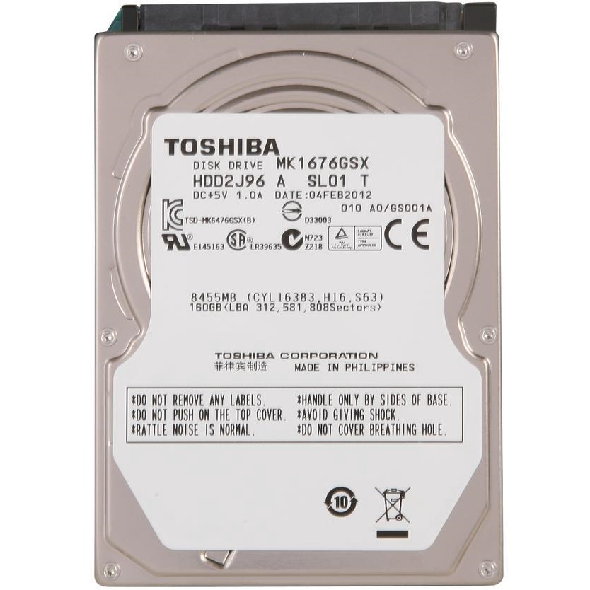 تصویر هارد دیسک لپ تاپ توشیبا مدل MK1676GSX با ظرفیت 160 گیگابایت