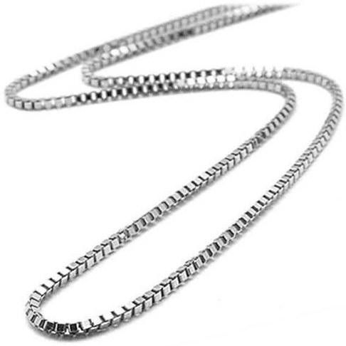 تصویر زنجیر آجری استیل نقره ای - 50cm