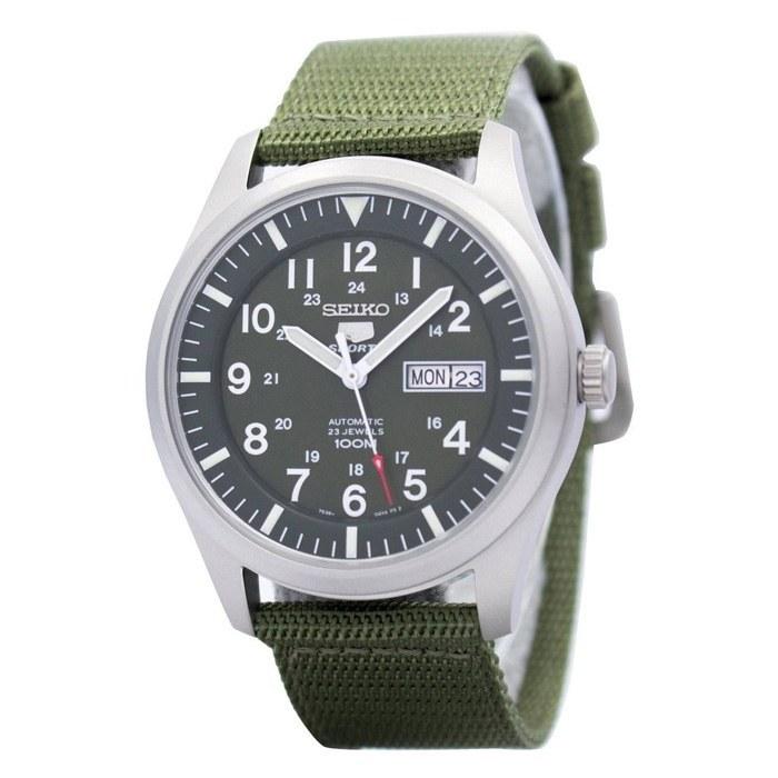 تصویر ساعت اتوماتیک مردانه ی سیکو با بند کرباسی سبز - seiko Seiko 5 Men's SNZG09K1 Sport Analog Automatic Khaki Green Canvas Watch