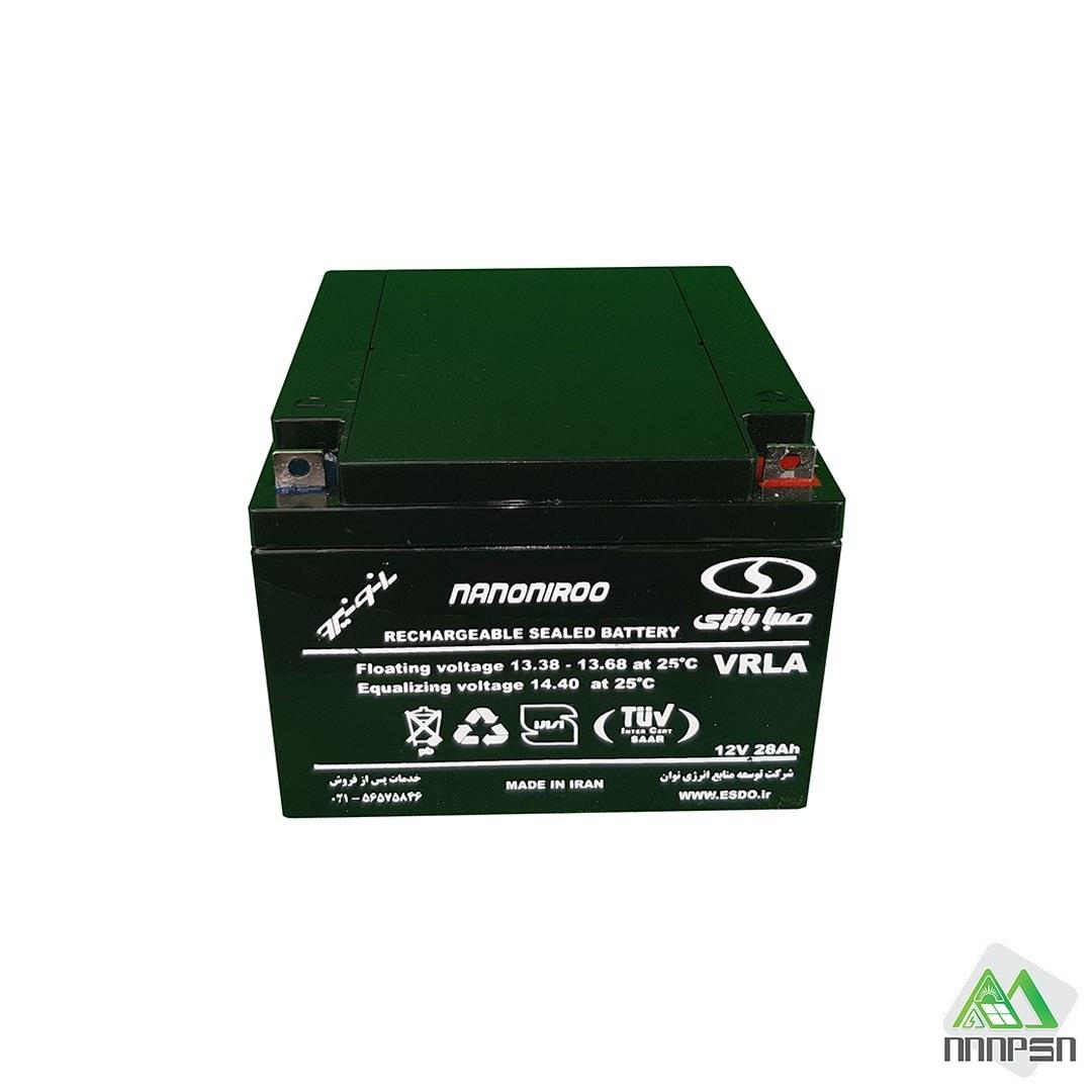 تصویر باتری 12 ولت 28 آمپر سیلد اسید صبا باتری