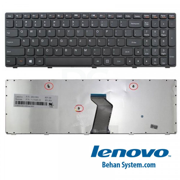 تصویر کیبورد لپ تاپ لنوو IdeaPad مدل G510 به همراه لیبل کیبورد فارسی جدا گانه