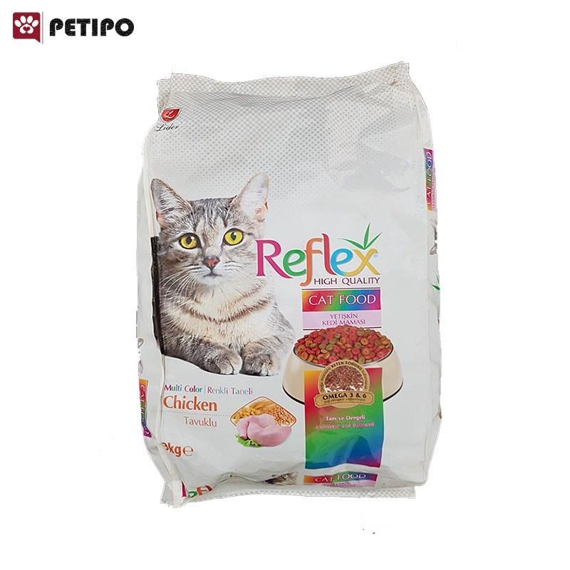 غذای خشک گربه مولتی کالر رفلکس با طعم مرغ وزن 1.5 کیلوگرم