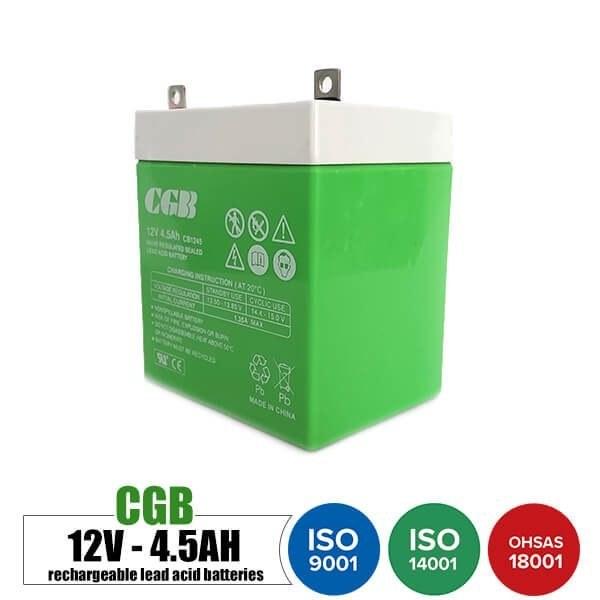 باتری قابل شارژ 12 ولت 4.5 آمپر موتوری CGB مدل CB1245 | Rechargeable battery 12 volt 4.5 Amps Motorcycle CGB -CB1245 model