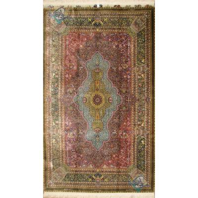 تصویر قالیچه دستباف تمام ابریشم قم اصل محمد جمشیدی