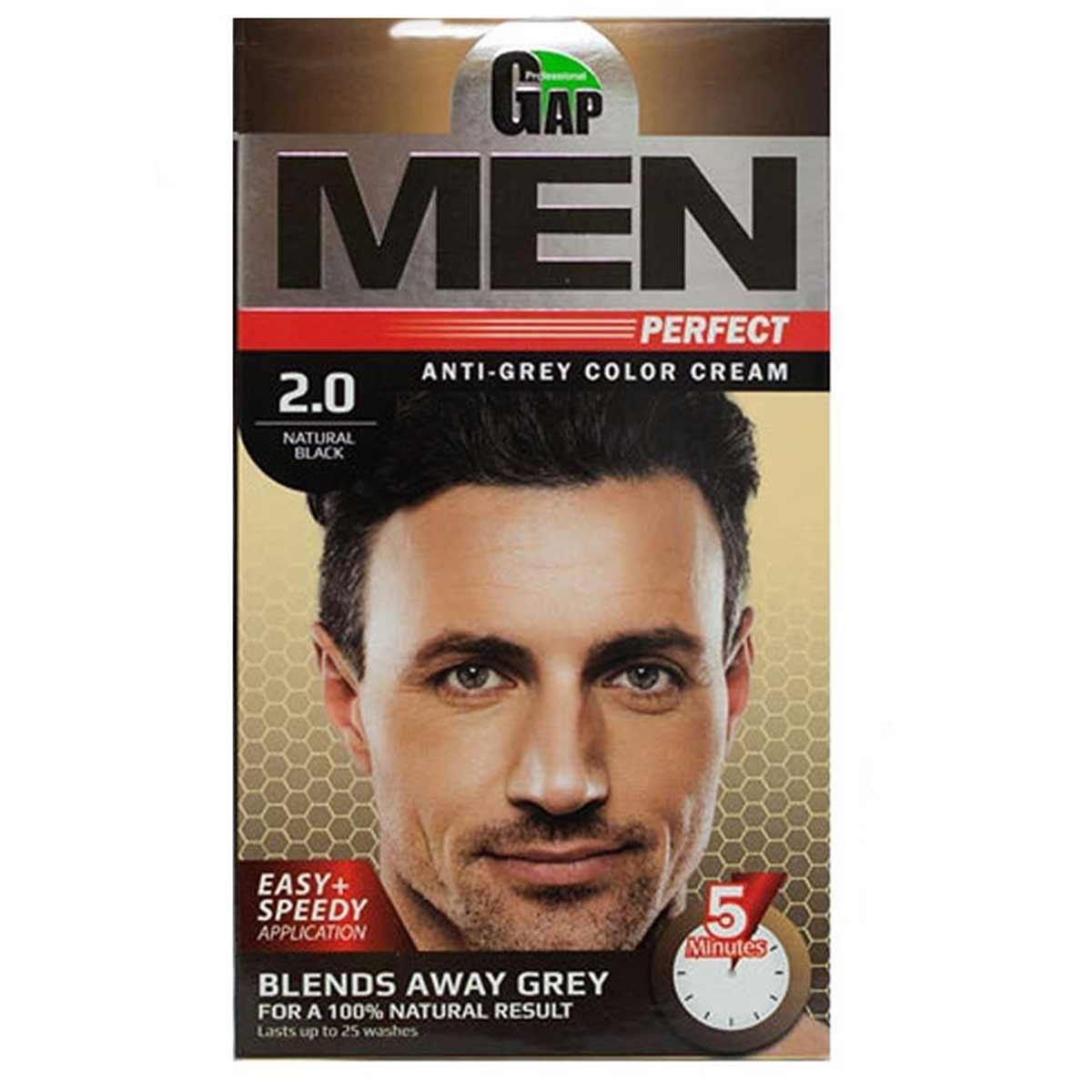تصویر کیت رنگ مو مردانه گپ مدل Men Perfect شماره 2.0 مشکی طبیعی