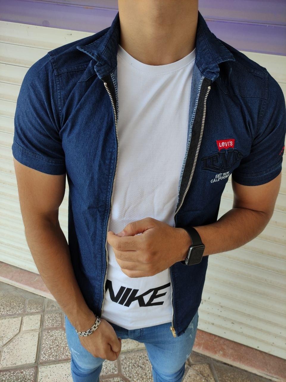 تصویر پیراهن آستین کوتاه جین زیپ دار سورمه ای خاص و خیره کننده - M