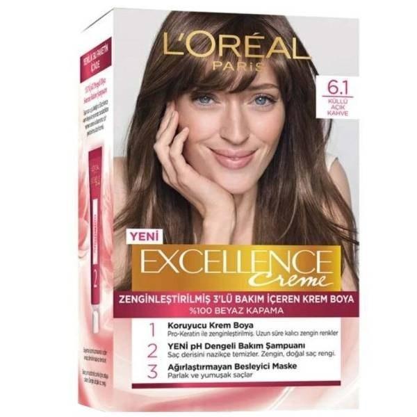 کیت رنگ مو لورآل مدل Excellence شماره 6.1 حجم 50 میلی لیتر