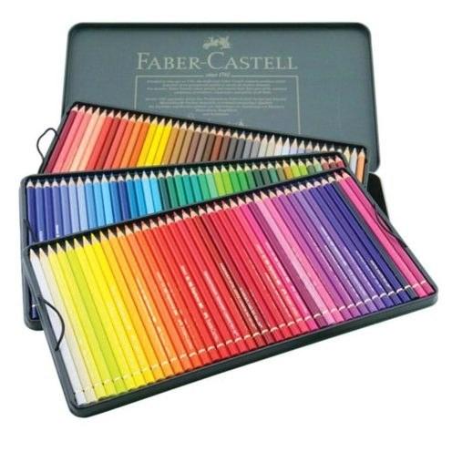 تصویر مداد رنگی ۱۲۰ رنگ پلی کروموس جعبه فلزی فابرکاستل