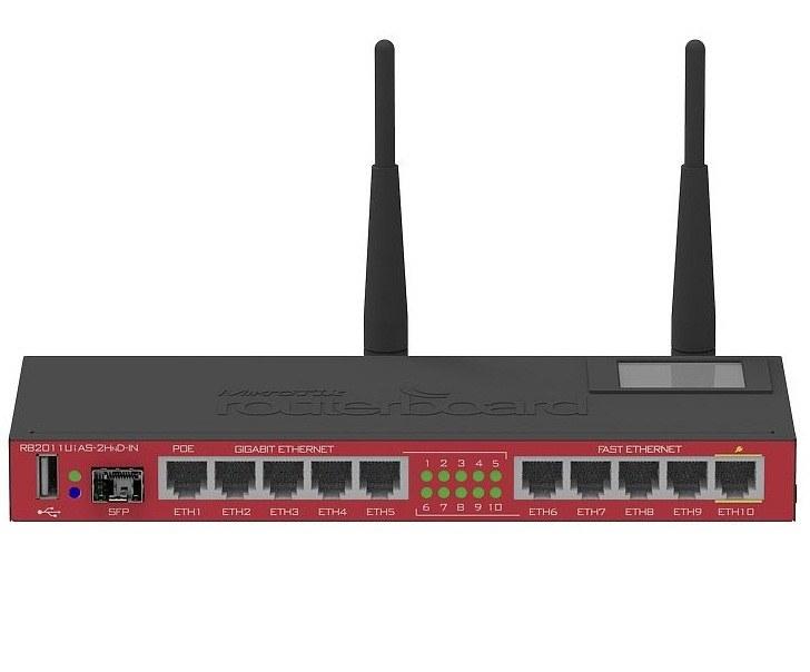 تصویر روتربرد وایرلس میکروتیک مدل RB2011UiAS-2HnD-IN Mikrotik Wireless Router 10-Ports RB2011UiAS-2HnD-IN