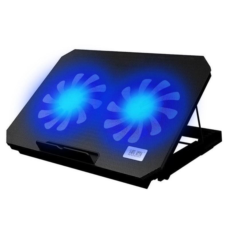 تصویر کول پد 14 اینچی مدل N99 دارای 2 فن led مدل :N99 رنگ : مشکی جنس : پلاستیک فشرده تعدا فن ها :2عدد دارای نور بسیار زیبا ی LED آبی